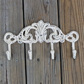 Metal Wall Hook /Ivory /Bright Shabby Chic Decor /Ornate Hanger /Key Holder /Bathroom Fixture /Bedroom  /Laundry /Nursery