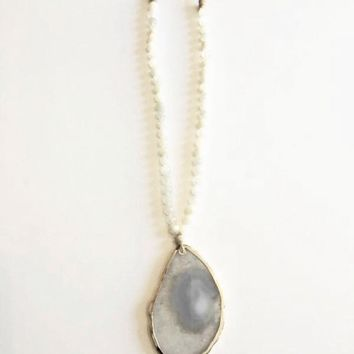 Abley Agate Moonstone and Suede Long Necklace