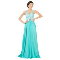 Grace Karin Summer Sexy Backless Green Evening Dresses Gown Chiffon Formal Lace Evening Dress Long Celebrity Prom Gowns 7538