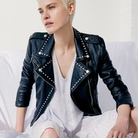 Free People Studded Vegan Moto Jacket