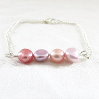 Rose cream pearl bar bracelet, freshwater pearl bracelet, silver plated, lead and nickel free