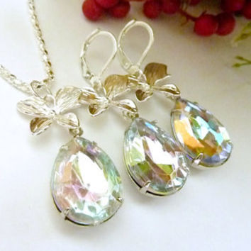 Wedding Necklace set clear AB iridescent rhinestones silver orchid Bridal Bridesmaids drop necklace and earrings set