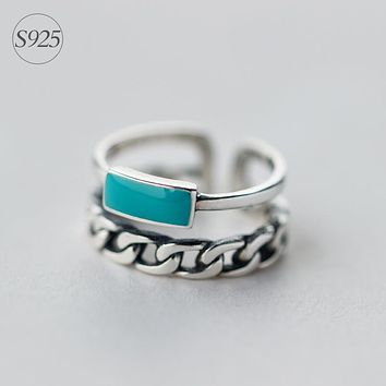 RETRO Real. 925 Sterling Silver Adjustable size Turquoise Stone Double Rows Multi-rows Ring GTLJ825