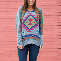 The Chickasaw Top, Gray/Multi