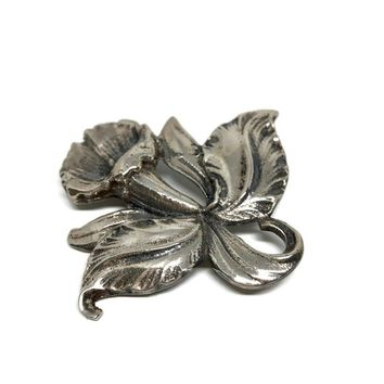 Art Nouveau Sterling Silver Morning Glory Flower Brooch, Large Heavy Silver Flower Pin, Vintage Floral Jewelry, Vintage Jewelry for Women