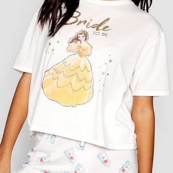 Disney Belle 'Bride To Be' Frill PJ Short Set | Boohoo