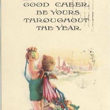 "Antique Postcard ""Prosperity and Good Cheer Be Yours Throughout The Year"" Blonde Cherub Angel New Years Baby holding money bag & Cornecopia"