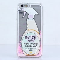 Bitchin - Glitter Heart Bitch Repellent Spray Liquid case for iPhone 6 6S Plus