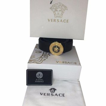 DCCK8X2 NEW Men's Versace Palazzo Calf Leather Black Belt, Made in Italy, from 95 & 100