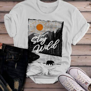 Women's Stay Wild T Shirt Hand Drawn Nature Shirts Bear Woods Hipster Forest Explore Graphic Tee