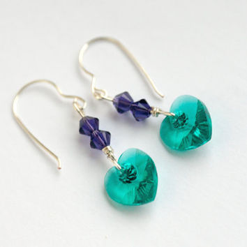 blue zircon heart earrings, purple earrings,  sterling silver earrings