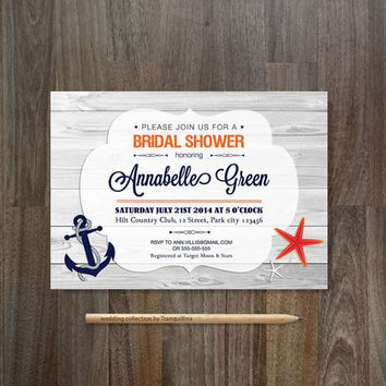 Nautical Bridal Shower Invitation Printable Birthday Digital File