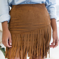 Brown Tassel Mini Faux Suede Skirt