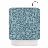 """Maike Thoma """"Layered Circles Design"""" Blue Floral Shower Curtain"""