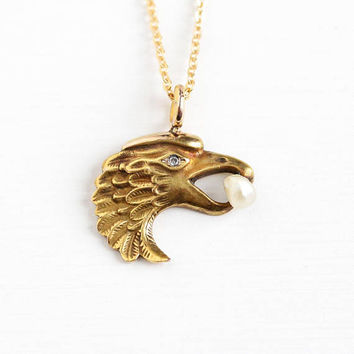 Antique 10k Yellow Gold Eagle Diamond & Pearl Stick Pin Conversion Pendant - 1910s Edwardian Figural Bird Charm on 14k GF Chain Jewelry