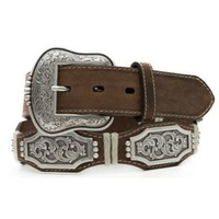Ariat Bay Brown Scallop with Silver Conchos Mens Belt A1010602