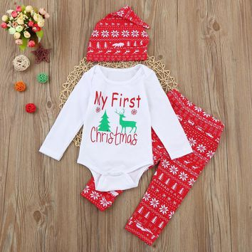 Infant Baby Clothes Sets Newborn Baby Clothing Christmas Baby Elk Deer Print Long Sleeve Romper+Pants+ Hat 3PCS