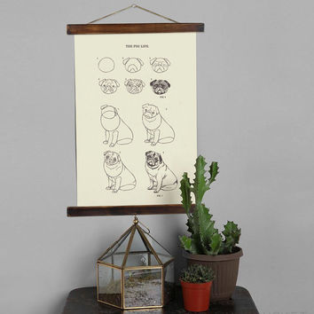 Pug Vintage Drawing Inspired educational chart illustration Posters, How to Draw Puglife Canvas