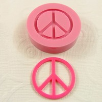 Retro Peace Sign Flexible Mini Mold/Mould (26mm) for Crafts, Jewelry, Scrapbooking ( resin,  pmc, polymer clay) (187)