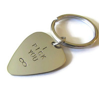 Handstamped Guitar Pick Keychain - I Pick You Infinity - HANDMADE by the KIDS