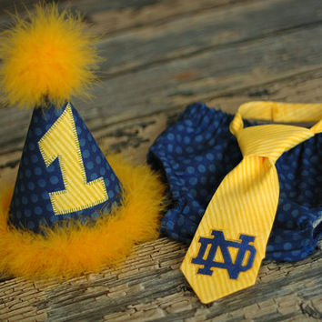 Birthday Party Hat, Diaper Cover, Tie - First Birthday, Smash Cake Pics, Photo Prop - Football Notre Dame Navy Blue and Gold