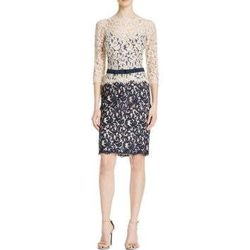 Tadashi Shoji Womens Petites Lace Colorblock Cocktail Dress