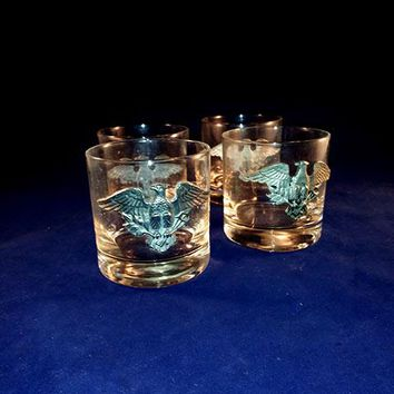 Double Old Fashioned Glasses With Pewter Eagle