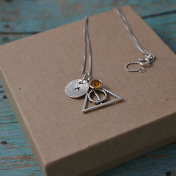 Deathly Hallows Necklace, personalized harry potter necklace, stamped harry potter