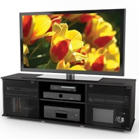 Sonax FB-2600 Fiji 60-Inch TV Component Bench, Ravenwood Black