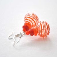 Striped Orange Earrings, Light Weight Hollow, Blown Glass Earrings, Dangle Clear Glass Earrings