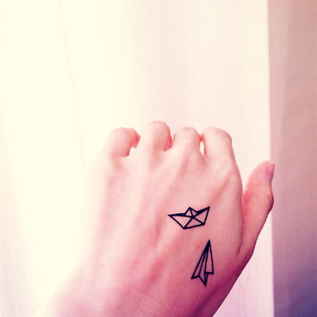 2pcs Small paper boat airplane - InknArt Temporary Tattoo - quote tattoo wrist sticker fake tattoo tiny bird love