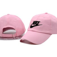 Unisex Pink Nike Sports Embroidered Baseball Cap Hat