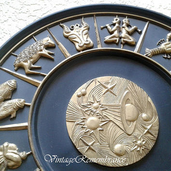 Zodiac Astrological Signs Circle Decor Plastic Panel Round Plaque Decorative Plate Wall Hanging Astrology Vintage Soviet USSR 1980s