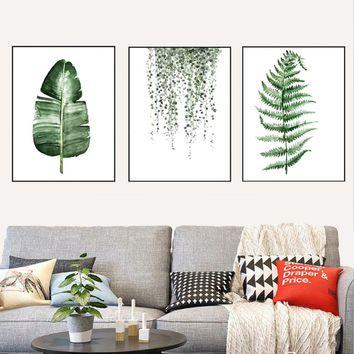 Posters Prints Wall Art Canvas Painting Green Plants Print Wall Pictures for Living Room Bedroom Nordic Decor No Frame Poster