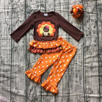 new autumn thanksgiving Fall/Winter baby girls brown orange turkey outfits polka dot pant clothes ruffle boutique match clip bow