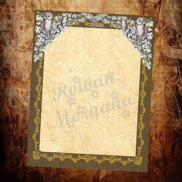 OWLS Blank Page, Digital Download,  Blank Book of Shadows Page, Grimoire, Scrapbook, Spells