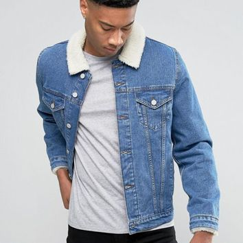 ASOS TALL Denim Jacket with Borg Collar In Mid Wash at asos.com