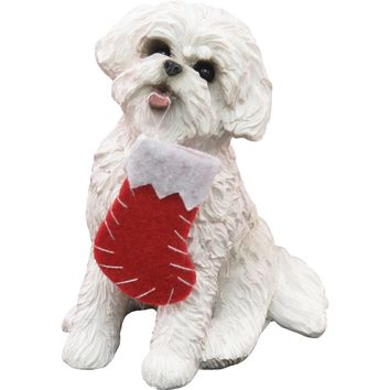 Sandicast Sitting Bichon Frise w/ Stocking Christmas Dog Ornament
