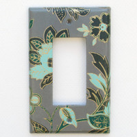 Gray Light Switch Cover - Toggle Switch, GFI Rocker, or Outlet Cover - Aquamarine Blue, Green and Gold Flowers - Bedroom Decor - Switchplate
