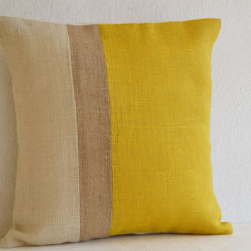 Yellow Throw Pillow color block -24x24 outdoor pillow- Decorative cushion cover- Burlap Pillow - gift pillow cover -Euro Sham -Large Pillow
