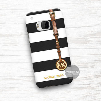 Michael Kors Jet Set Striped Black HTC One Case Cover Series
