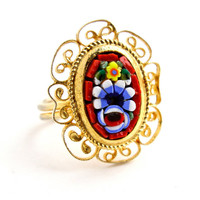 Vintage Micro Mosaic Ring - Gold Tone Adjustable Glass Floral Costume Jewelry / Red Flowers