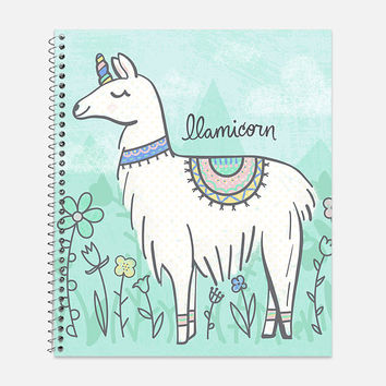 Llamicorn Notebook, Waterproof Cover, Llama Journal, School Supplies, Office Supplies, Unicorn Journal, College Ruled Notebook