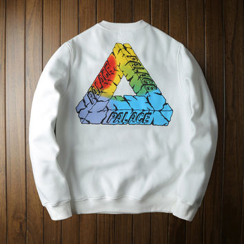 Womens PALACE Casual White Pullover Sweatshirt