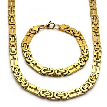 Stainless Steel 06.116.0005.1 Necklace and Bracelet, Cross Design, Polished Finish, Golden Tone