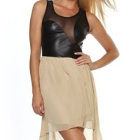 Sexy Clubwear Dress Faux Leather Two Tone Scoop Neck Mesh Cut-Out High Low