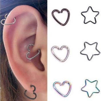 ac PEAPO2Q 1PC Heart/Star Shaped Tragus Piercings Hoop Helix Cartilage Tragus Daith Ear Studs Lip Nose Rings Piercing Jewelry