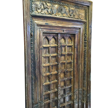 Vintage Rustic Antique Chakra Door with Frame Architectural Indian Furniture