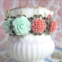 Pink and Mint Floral Earrings Rose Floral Earrings Shabby Chic Romantic Floral Earrings Victorian Tea Party - 2 for Price of 1