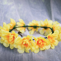 Floral Crown  Yellow by DaFlowerPrincess on Etsy
